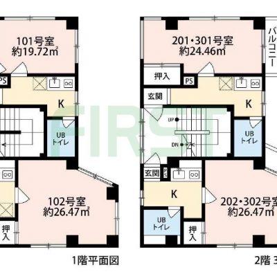 1K×6戸 1フロア2世帯の全戸角部屋