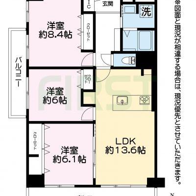 南西角部屋 76㎡超の3LDK